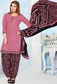 Pink Black Cotton Printed Daily Wear Salwar Suit