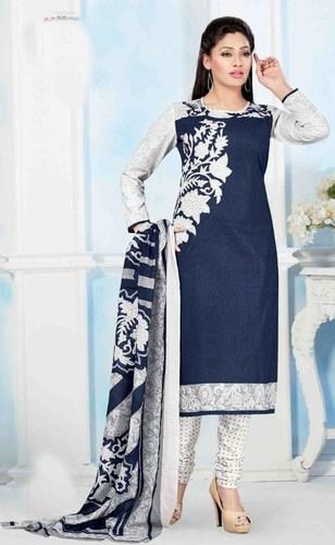 Blue Cotton Printed Salwar Suit