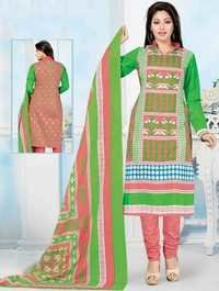 Green Pink Cotton Printed Bridal Wear Salwar Suit