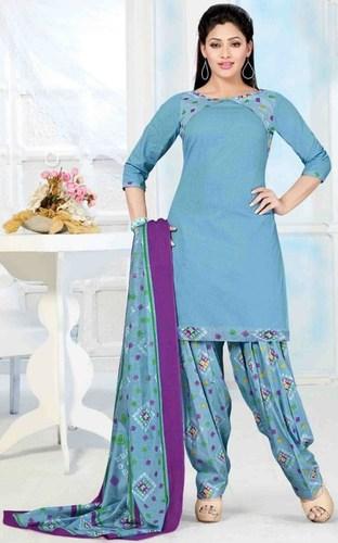 Blue Cotton Printed Daily Wear Salwar Suit