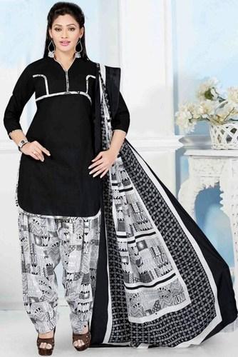 Black Cotton Printed Salwar Suit