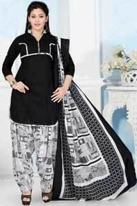 Black Cotton Printed Salwar Suit