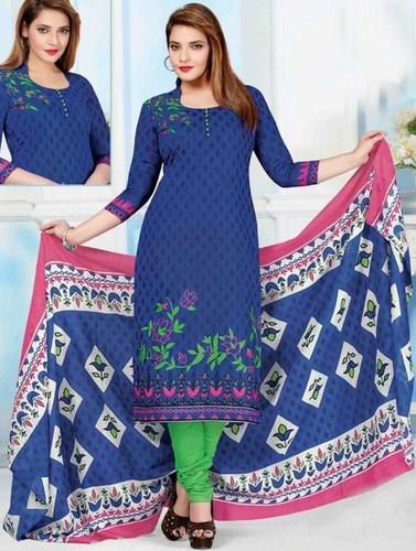 Blue Green Cotton Printed Evening Wear Salwar Suit