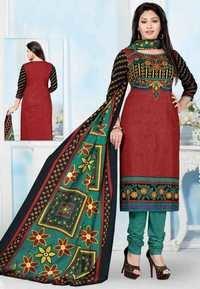 Maroon Green Cotton Printed Office Wear Salwar Suit