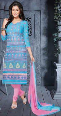 Blue Pink Cotton Embrodery Bollywood Salwar Suit