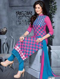 Pink Blue Cotton Embrodery Ethnic Salwar Suit