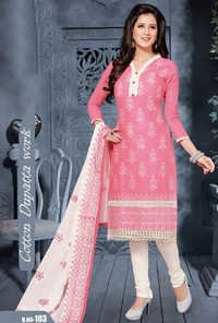 Pink Cotton Embrodery Traditional Salwar Suit