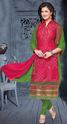 Pink Green Cotton Embroidery Salwar Suit