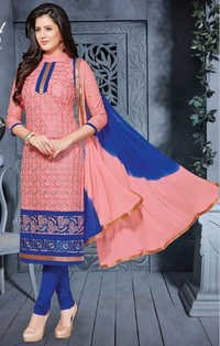 Pink Blue Cotton Embrodery Wedding Wear Salwar Suit