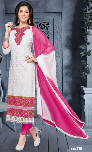 White Pink Cotton Embrodery Office Wear Salwar Suit