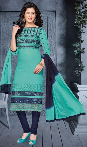 Green Black Cotton Embrodery Exclusive Salwar Suit