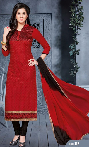 Red Black Cotton Embrodery Party Wear Salwar Suit