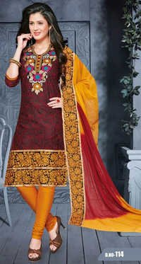 Red Yellow Cotton Embrodery Wedding Wear Salwar Suit