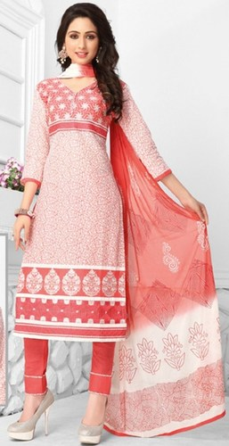 Pink White Cotton Embroidered Ethnic Salwar Suit