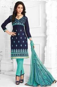 Blue Cotton Embroidered Traditional Salwar Suit