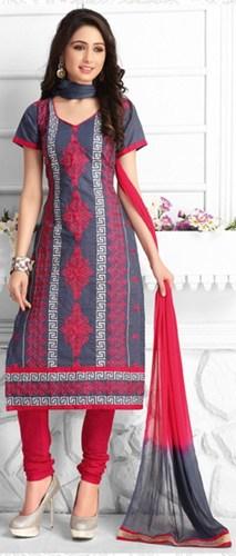 Red Grey Cotton Embroidered Vintage Salwar Suit