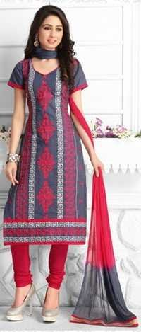 Red Grey Cotton Embroidered Vintage Salwar Suit