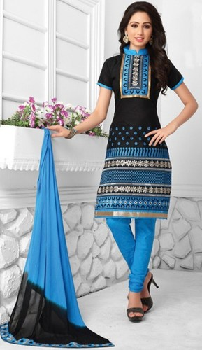 Blue Black Cotton Embroidered Salwar Suit
