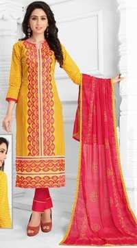 Red Yellow Cotton Embroidered Kareena Salwar Suit