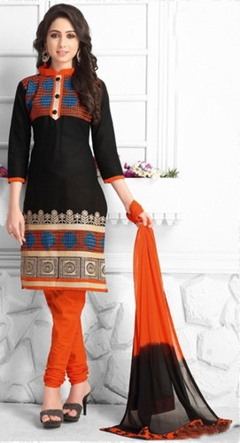 Black Orange Cotton Embroidered Salwar Suit