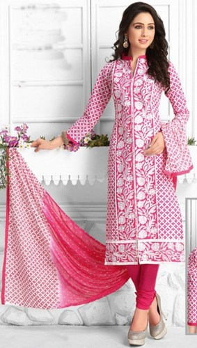 White Pink Cotton Embroidered Party Wear Salwar Suit