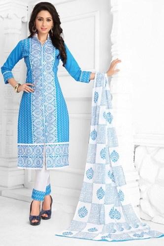 Blue White Cotton Embroidered Bridal Wear Salwar Suit