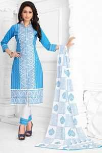 Blue White Cotton Embroidered Bridal Wear Salwar Suit