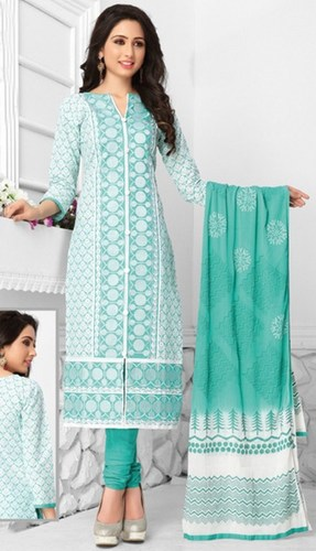 Green White Cotton Embroidered Bridal Wear Salwar Suit