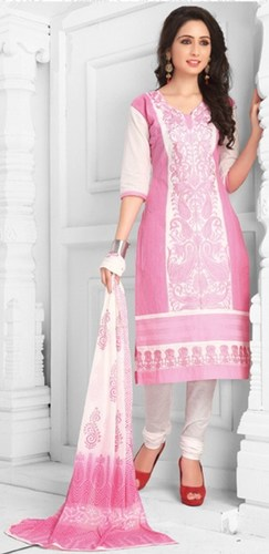 Pink White Cotton Embroidered Daily Wear Salwar Suit