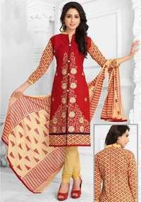 Red Beige Cotton Embroidered Daily Wear Salwar Suit