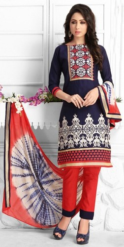 Blue Red Cotton Embroidered Exclusive Salwar Suit