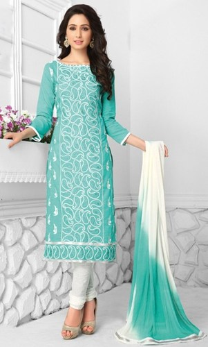 White Cotton Embroidered Salwar Suit