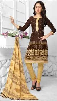 Brown Beige Cotton Embroidered Party Wear Salwar Suit
