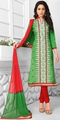 Green Red Cotton Embroidered Daily Wear Salwar Suit