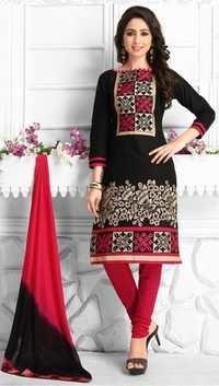 Black Cotton Embroidered Wedding Wear Salwar Suit