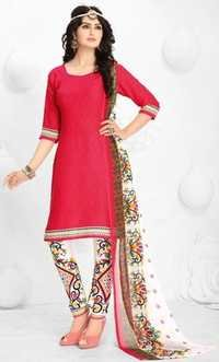 Pink Synthetic Printed  Evening Wear Salwar Suit