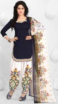 Blue Synthetic Printed  Bollywood Salwar Suit