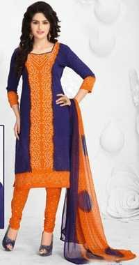 Orange Blue Synthetic Printed Traditional Salwar Suit