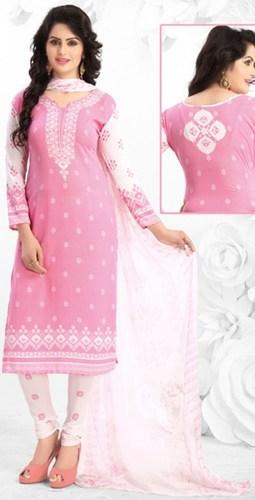 Pink White Synthetic Printed Vintage Salwar Suit