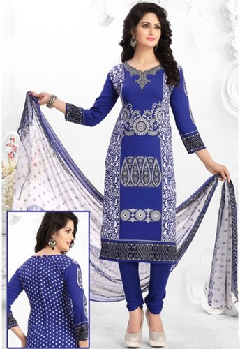 Blue Grey Synthetic Printed Light Weight Salwar Suit