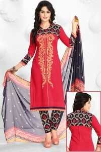 Red Black Synthetic Printed  Salwar Suit