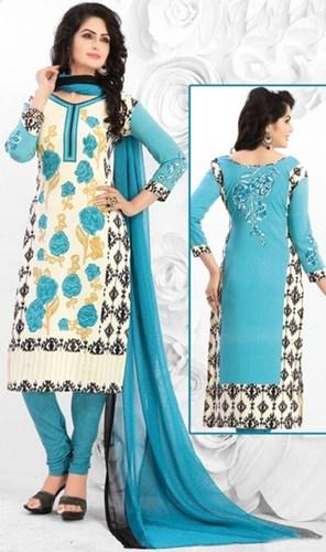 Blue White Synthetic Printed Kareena Salwar Suit