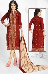 Maroon Synthetic Printed Party Wear Salwar Suit