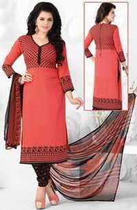Pink Black Synthetic Printed Daily Wear Salwar Suit