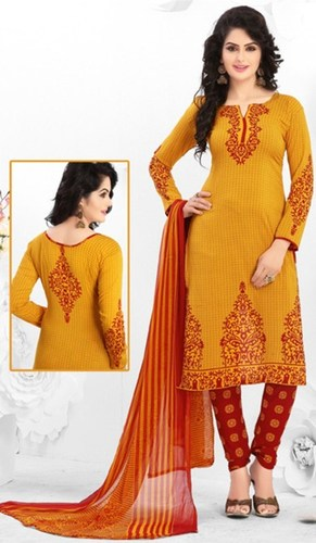 Yellow Synthetic Printed Exclusive Salwar Suit