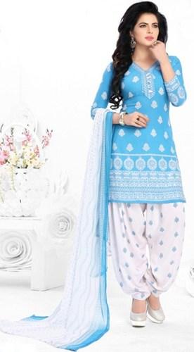 Blue White Synthetic Printed Punjabi Salwar Suit