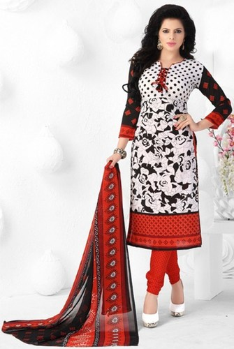 White Red Synthetic Printed Evening Wear Salwar Suit
