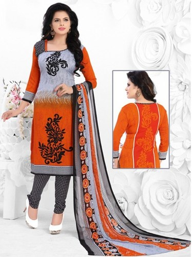 Grey Orange Synthetic Printed Office Wear Salwar Suit