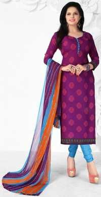Purple Blue Synthetic Printed Ethnic Salwar Suit