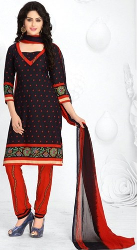 Black Red Synthetic Printed Traditional Salwar Suit
